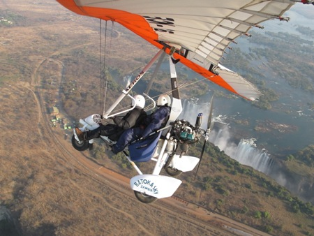 Microlight over Victoria Falls, Zambia and Zimbabwe