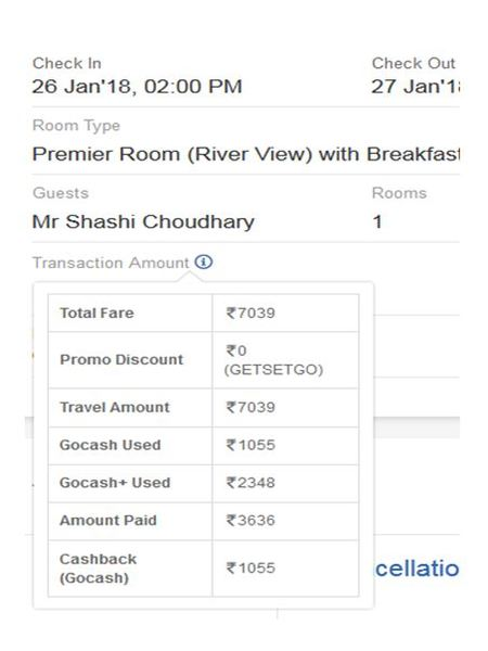 Goibibo Booking of one room