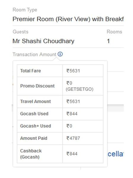 Goibibo Booking of second room