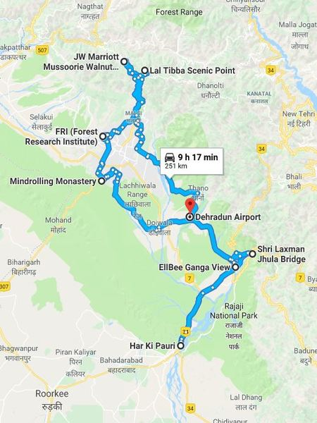 Map of Uttarakhand road trip covering  Dehradun, Rishikesh, Haridwar and Mussoorie