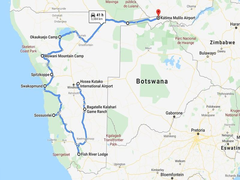 Map of Namibia Road Trip