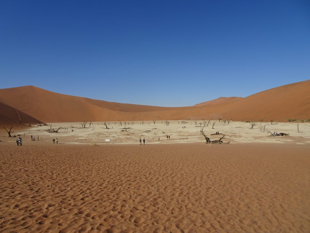 First glimpse of Deadvlei in Namibia