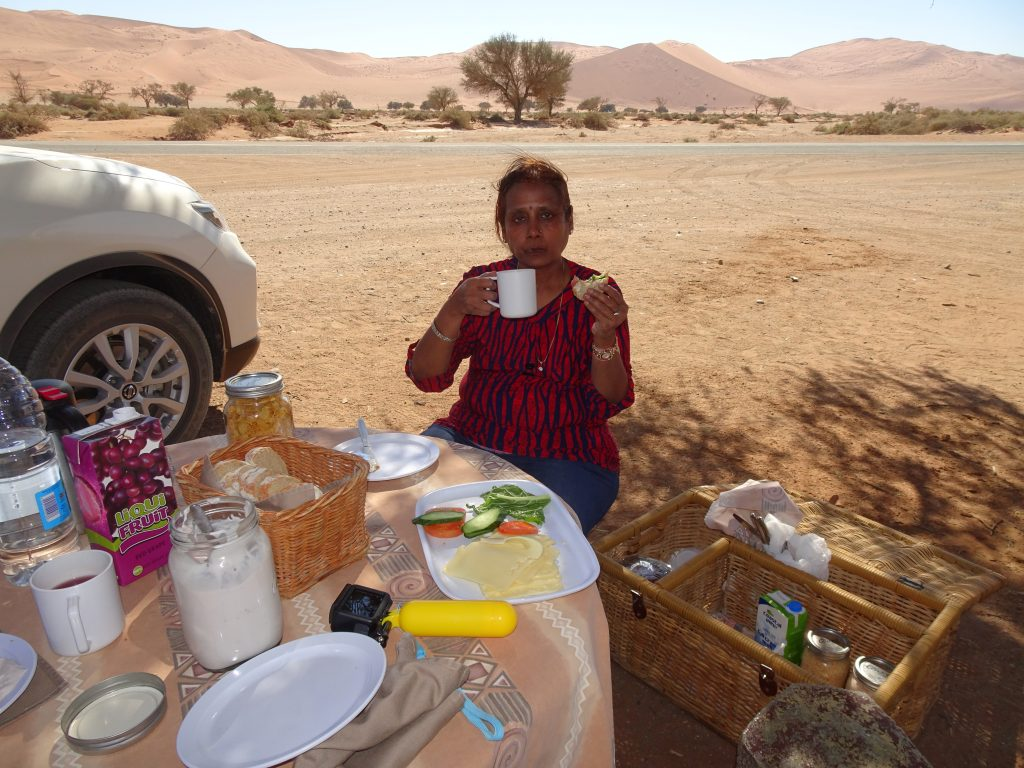 Picnic breakfast in Namibian Desert