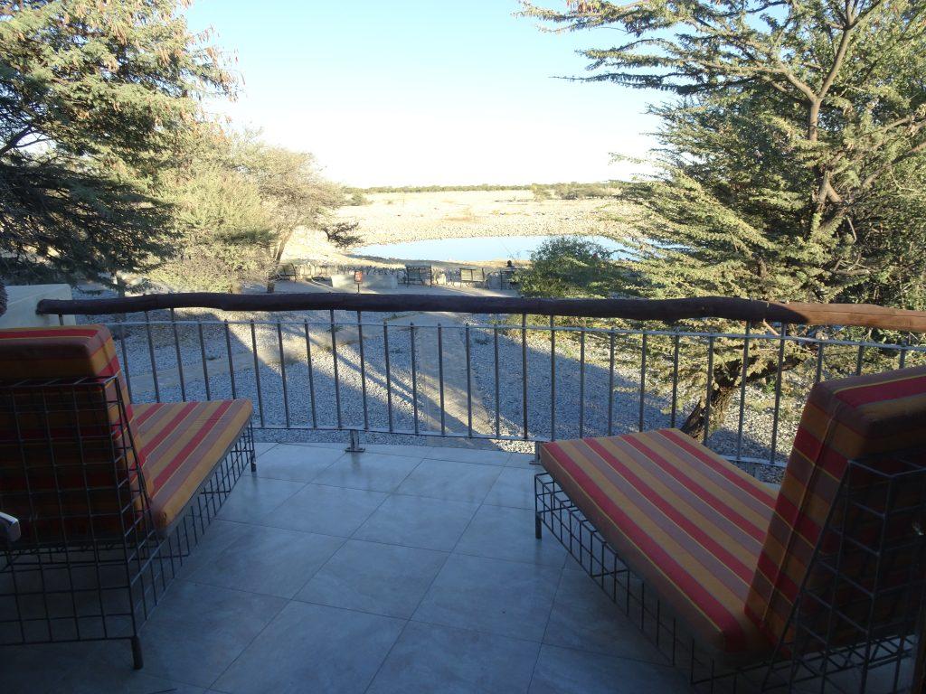 Balcony overlooking the waterhole at Okaukuejo Rest Camp